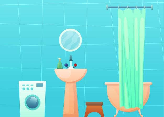 Badkamerinterieur met ligbad en gordijn, wasmachine, spiegel en wastafel.