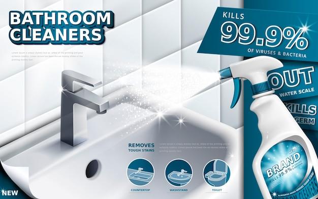 Badkamerreinigers advertenties, spuitfles met afwasmiddel vloeistof gebruikt voor badkamer in 3d illustratie