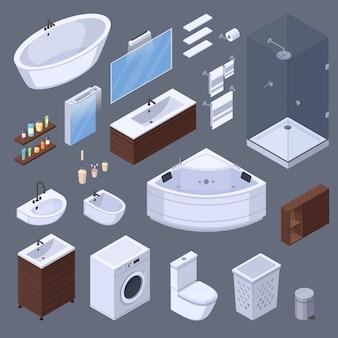 Badkamers isometrische binnenlandse elementen met meubels en toiletmateriaal geïsoleerde beelden op grijze vectorillustratie als achtergrond