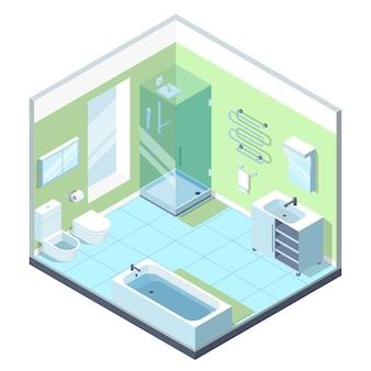 Badkamersbinnenland met verschillende meubilairelementen.