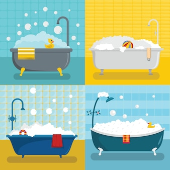 Badkuip-doucheset van schuim, vlakke stijl