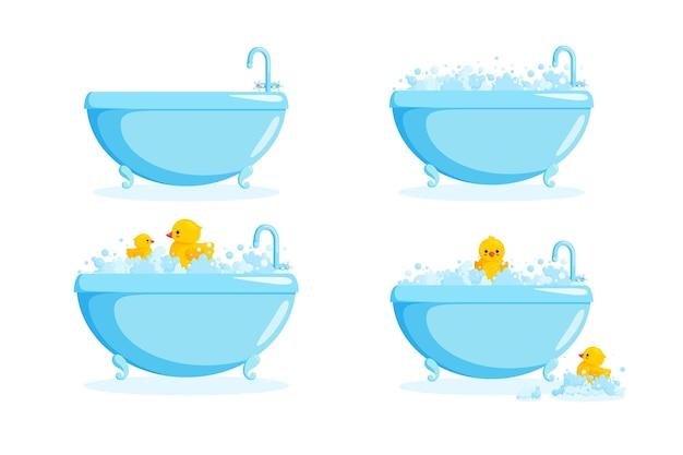 Badkuip met badeend in zeepsop. set met badkuipen en gele eenden in bubbels en zeepsop