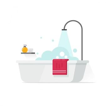 Badkuip met schuimbellen en doucheillustratie op wit in vlakke beeldverhaalstijl die wordt geïsoleerd