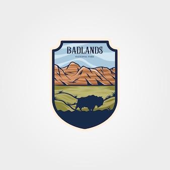 Badlands nationaal park embleem geïsoleerd