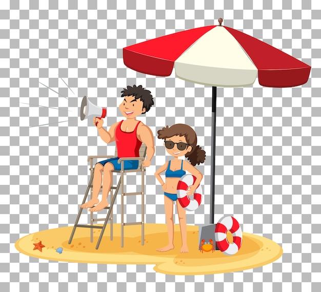Badmeester op het geïsoleerde strand