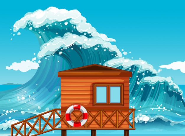 Badmeesterhut door de oceaan
