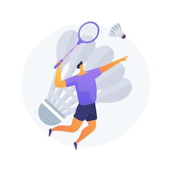 Badminton abstract concept vectorillustratie. racketsport, recreatieve activiteit buitenshuis, badmintontoernooi, sportartikelen, spelende mensen, clubtraining, abstracte metafoor voor competitie.