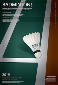 Badminton kampioenschap poster sjabloon