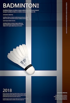Badminton kampioenschap poster vectorillustratie