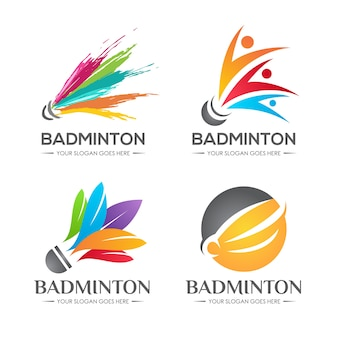 Badminton shuttle logo set