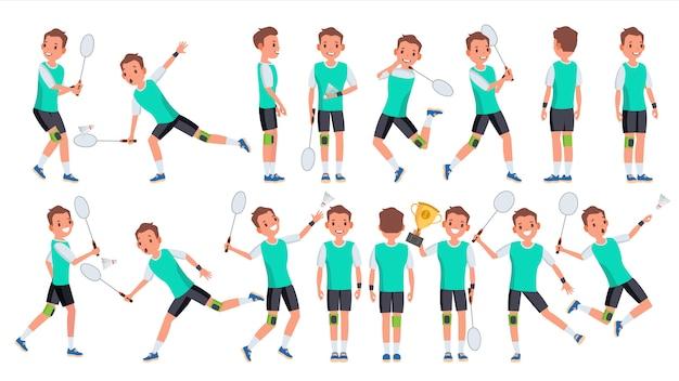 Badminton-speler mannelijke vector. zomer activiteit. kampioenschap training. geïsoleerde platte stripfiguur
