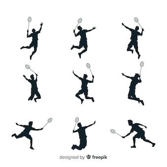 Badminton-speler silhouet collectie