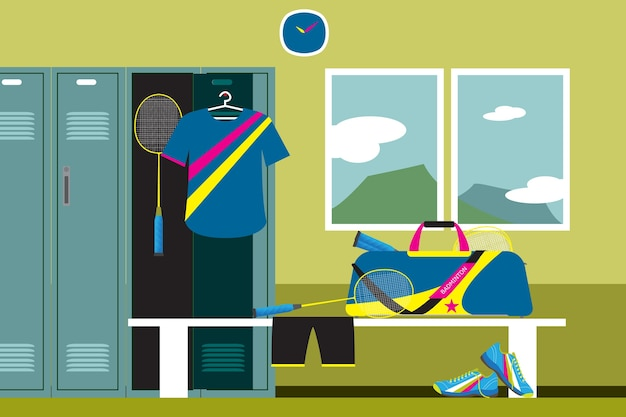 Badminton sport fitnessclub kleedkamer en uitzicht op de bergen.