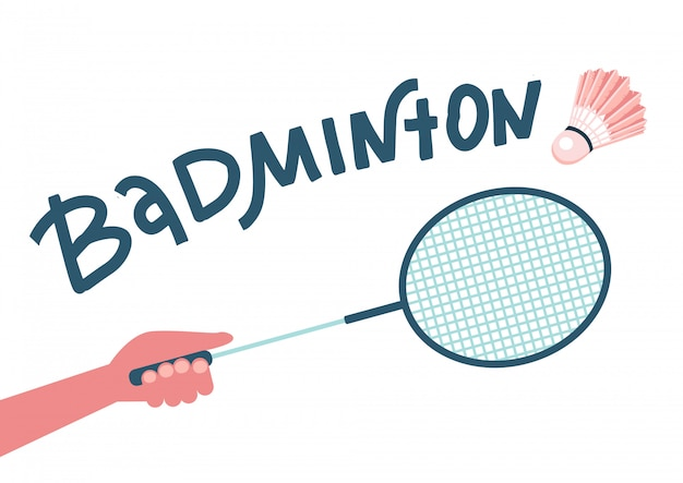 Badmintonracket in handen speler, raakte de shuttle. illustratie plat ontwerp met getekende letters. geïsoleerd op een witte achtergrond. zomersport.