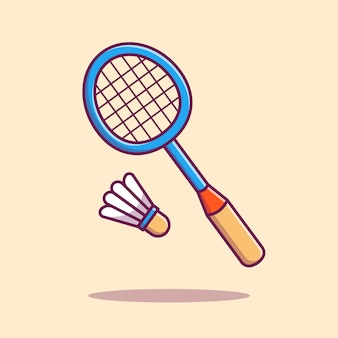 Badmintonracket met shuttle pictogram illustratie. sport pictogram concept geïsoleerd. flat cartoon stijl