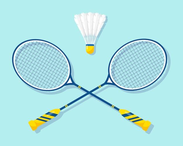 Badmintonrackets en shuttle met uitrusting voor badmintonsport