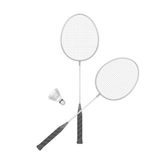 Badmintonrackets met geïsoleerde shuttle