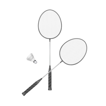 Badmintonrackets met shuttle