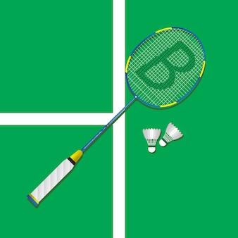 Badmintonrackets plat vierkant pictogram met schaduwen.