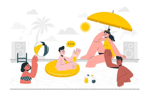 Badpak partij concept illustratie