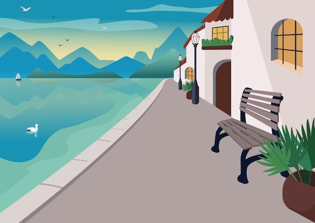 Badplaats stad illustratie