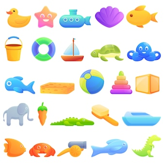 Badspeelgoed iconen set, cartoon stijl