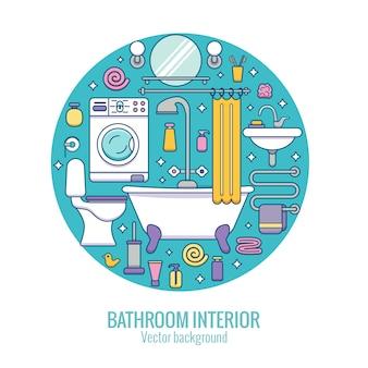 Baduitrusting kleurrijk concept, spiegel, toilet, wastafel, douche, illustratie