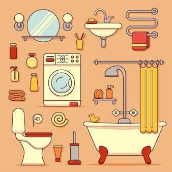Baduitrustingselementen gemaakt in moderne lijnstijl.