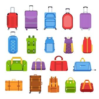 Bagage koffers. bagage- en handgreepzakken, rugzakken, leren tas, reiskoffers en tas voor reis-, toerisme- en vakantiepictogrammen instellen. reisuitrusting veelkleurige illustraties