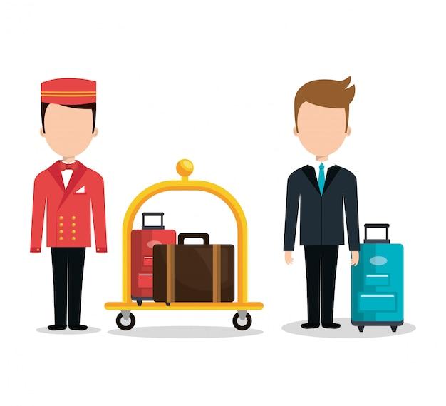 Bagage transport service geïsoleerd pictogram