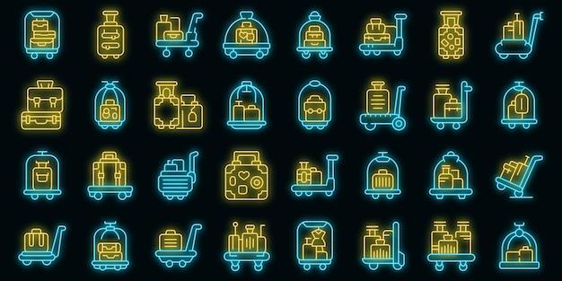Bagage trolley pictogrammen instellen overzicht vector. vervoer koffer. reistas