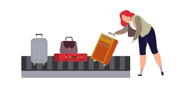 Bagagecarrousel in luchthaven. vrouw reiziger pakt bagage en koffer uit zak platte carrousel concept