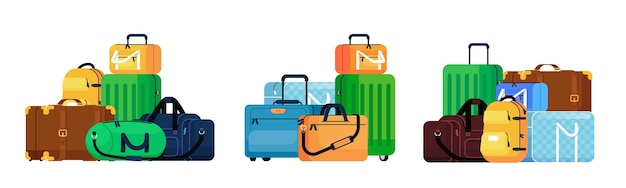 Bagageset. retro en moderne reizen koffer en rugzak bagage stapel pictogramserie. reis- en reisbagage tassen transport collectie