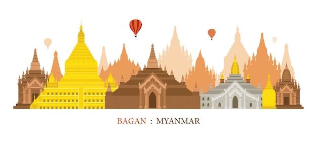 Bagan myanmar skyline oriëntatiepunten