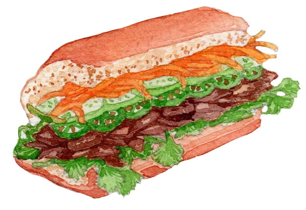 Bahn mi aquarel illustratie