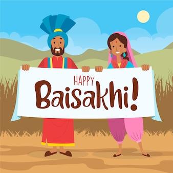 Baisakhi indisch festival met gelukkige mensen