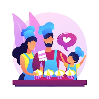 Bak samen abstracte conceptillustratie. familieplezier tijdens quarantaine, ideeën om thuis te zitten, samen tijd doorbrengen, volwassenen bakken met kinderen.