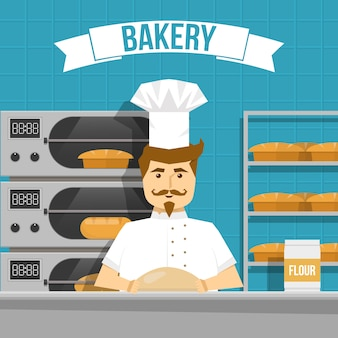 Baker cooks bread design