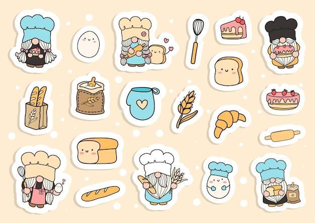 Baker gnomes sticker keukenkabouter planner en plakboek