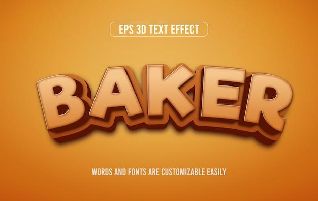 Baker kookt 3d bewerkbaar tekststijleffect
