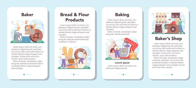 Baker mobiele applicatie banner set chef-kok in het uniforme brood bakken
