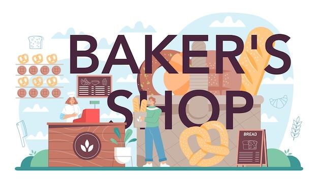 Baker's winkel typografische kop. chef-kok in het uniforme brood bakken.