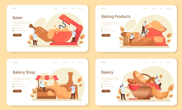 Baker webbanner of bestemmingspagina-set