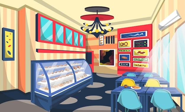 Bakery shop room design met cake on storefront