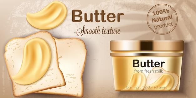 Bakje met natuurlijke boter van verse melk. verspreiden op geroosterd brood. natuurlijke gladde textuur. plaats voor tekst. realistisch
