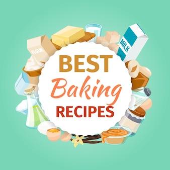 Bakken concept met voedselingrediënten. poeder en eten, receptbakkerij