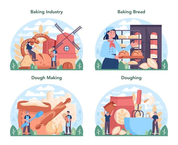 Bakken industrie concept set. gebak bakproces en retail.