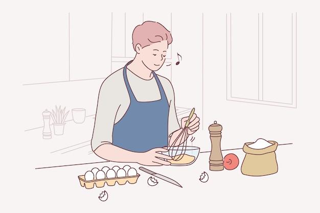 Bakken, koken, zelfgemaakt gebak of taartconcept maken.