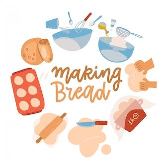 Bakken tools set. gebak apparatuur en ingrediënten. broodrecept met tarwebloem, deegroller, garde en zeef. heerlijk bakken. cartoon platte illustratie met belettering. rond concept