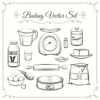 Bakken van voedselingrediënten en keukengerei in hand getrokken vectorstijl. voedsel koken gebak, zeef en schalen, bloem en suiker illustratie